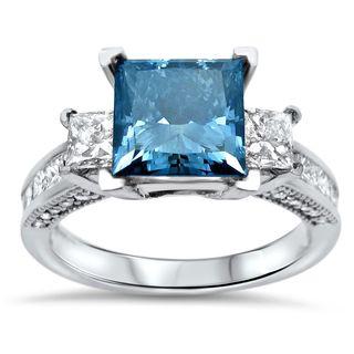 Noori 14k White Gold 3 1/10ct TDW Blue Princess-cut Diamond Engagement Ring (SI1-SI2)