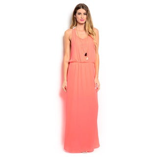 Shop the Trends Women's Sleeveless Maxi Dress with Scooped Neckline and Crochet Racer Back