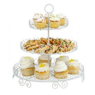Home Basics White 3-tier Cupcake and Dessert Stand