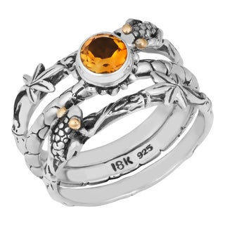 Sterling Silver, 18K Gold, Citrine Tropical Frog Triple Stack Cawi Ring (Indonesia)