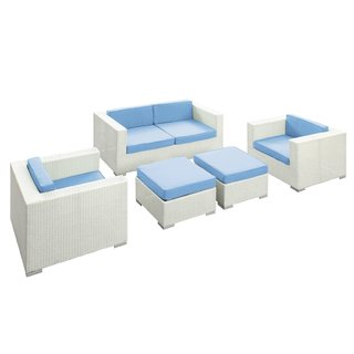 5 Piece All Weather Rattan Wicker Outdoor Patio Furniture Set - Color Variation