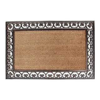 """Rubber And Coir Classic Paisley Border Extra Large Double Doormat, 30""""X48"""""""