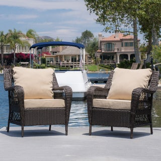 Christopher Knight Home Palermo Outdoor Wicker Armchair with Cushion (Set of 2)