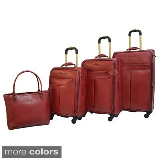 Adrienne Vittadini Faux Saffiano Leather 4-piece Expandable Spinner Luggage Set