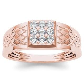 De Couer 10k Rose Gold 1/3ct TDW Diamond Men's Cluster Ring (H-I, I2)