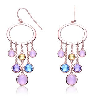 Collette Z Rose-plated Sterling Silver Multi Color Chandlier Earrings