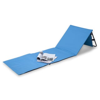 Danya B Set of 2 Blue Portable Beach Lounge Chairs with Pockets and Carry Straps