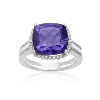 Sterling Silver 5ct Cushion-cut Created Tanzanite Diamond Accent Split Shank Ring