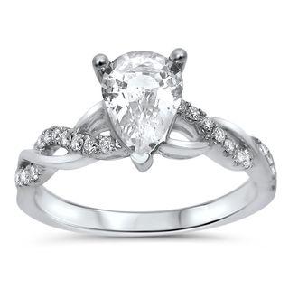 Noori 14k White Gold 1/5ct TDW Diamond and Pear-cut White Sapphire Engagement Ring (G-H, SI1-SI2)
