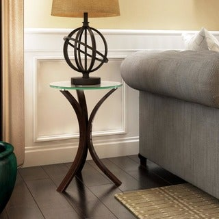 Living Room Accent Snack Table with Glass Top