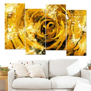 Design Art 'Center of the Yellow Rose' 48 x 28-inch 4-panel Canvas Art Print