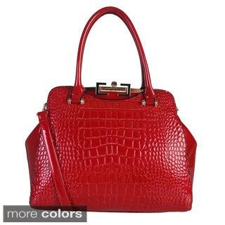 Rimen and Co. Patent Leather Crocodile Texture Satchel Handbag