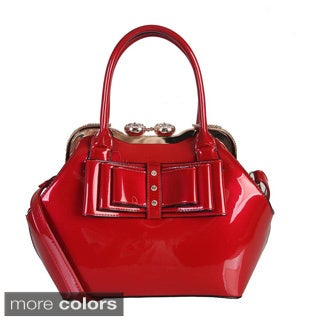Rimen and Co. Patent Leather Shiny Color Studded Bow Satchel Handbag
