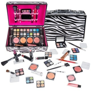 Shany Carry All Makeup Train Case with Pro Makeup and Reusable Aluminum Zebra Case