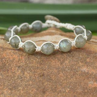 Leather 'Orbs of Imagination' Labradorite Bracelet (Thailand)