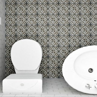 SomerTile 7.75x7.75-inch Gavras Cendra Décor Clover Ceramic Floor and Wall Tile (Case of 25)