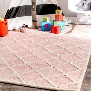 nuLOOM Handmade Abstract Fancy Trellis Wool Rug (5' x 8')
