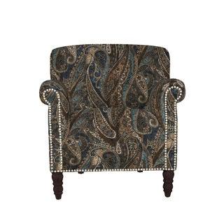 angelo:HOME Carissa Soft Velvety Paisley Blue Arm Chair