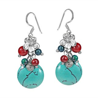 Floral Cluster Drop Turquoise Sterling Silver Earrings (Thailand)