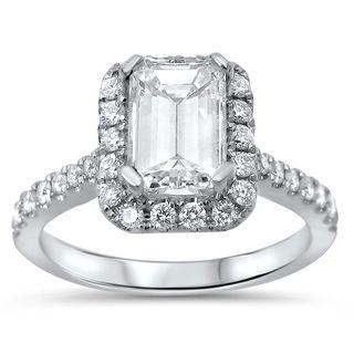 Noori 14k White Gold 1 2/5ct TDW Emerald-cut Diamond Engagement Ring (G-H, SI1-SI2)