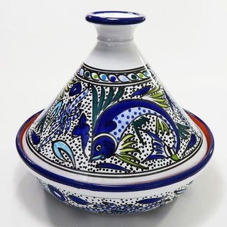 Cookable Tagine-30 - Aqua Fish Design, by Le Souk Ceramnique (Tunisia)