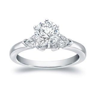 Auriya 14k White Gold 1 ct TDW 3 Stone Diamond Engagement Ring (I-J, VS1-VS2)
