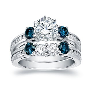Auriya 14k White Gold 2 3/4ct TDW Certified Round Cut White and Blue Diamond Bridal Ring Set (H-I, SI1-SI2)