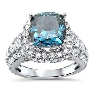 Noori 18k White Gold 4 3/5ct TDW Blue Cushion-cut Diamond Engagement Ring (F-G, SI1-SI2)