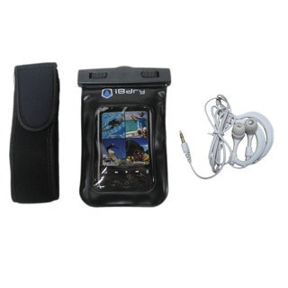 iBdry Waterproof Soft Case for Cell Phones and MP3 Players with Waterproof Earphones and Armband