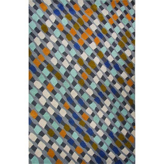 Hand-Tufted Geometric Pattern Cloud burst/Pewter Wool (2x3) Area Rug