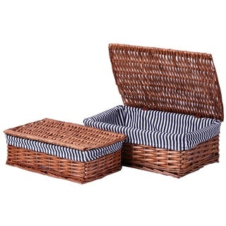 Lined Storage Baskets with Lids (Set of 2)