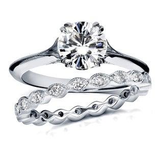 Annello 14k White Gold Moissanite and 2/5ct TDW Diamond Antique Geometric Flower Bridal Rings Set (G-H, I1-I2)