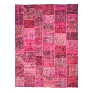 EORC X35916 Pink Hand-knotted Wool Turkish Patch Rug (9' x 12')