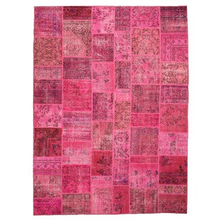 EORC X35915 Pink Hand-knotted Wool Turkish Patch Rug (8'11 x 11'11)