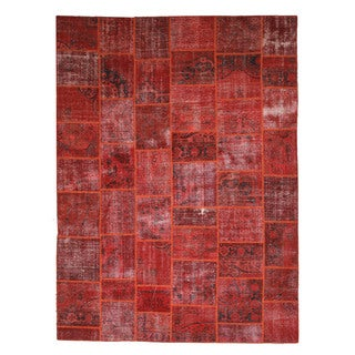 EORC X35927 Rust Hand-knotted Wool Turkish Patch Rug (9' x 12')