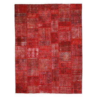 EORC X35913 Red Hand-knotted Wool Turkish Patch Rug (9' x 12')