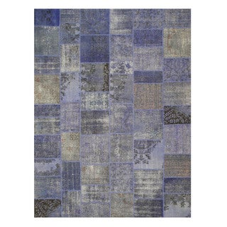 EORC X35924 Blue Hand-knotted Wool Turkish Patch Rug (9' x 12')