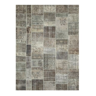 EORC X35917 Grey Hand-knotted Wool Turkish Patch Rug (9' x 12')