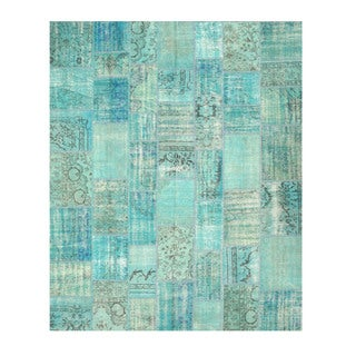 EORC X35336 Green Hand-knotted Wool Turkish Patch Rug (9'2 x 11'2)