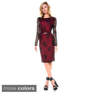 Stanzino Women's Long Sleeve Belted Lace Dress