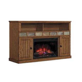 Margate 26-inch Classic Flame Indoor Fireplace Media Mantel in Premium Oak
