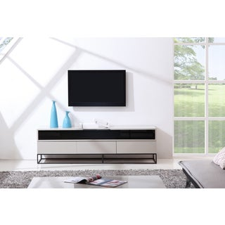 B-Modern Publicist High-Gloss Cream/ Black Modern IR TV Stand