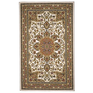 Oriental Floral Tan, Beige, white Area Rug (8'x10')