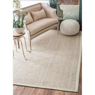 nuLOOM Casual Natural Fiber Solid Sisal/ Wool Border Rug (7'6 x 9'6)