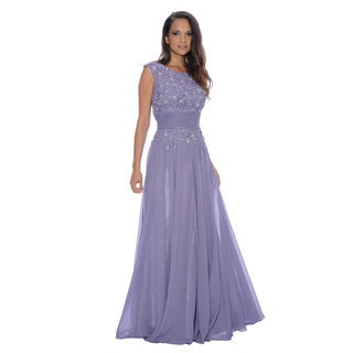 Decode 1.8 Women's Lavender Beaded Lace-Bodice Chiffon Gown