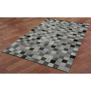 White Squares Leather Hair-On Hide Matador Rug (8' x 10')