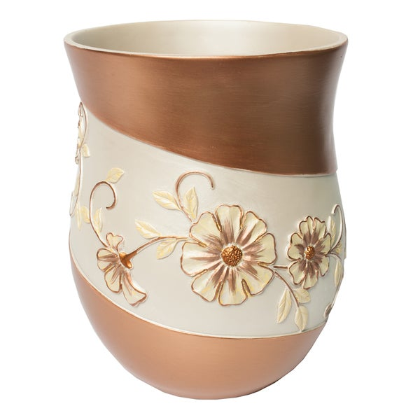 Beige floral bath accessory collection 7 options for Floral bath accessories
