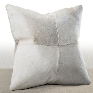 Del Rey Ivory Cowhide Feather and Down Filled 16-inch Square Pillow