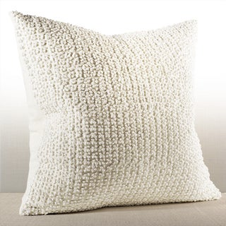 Nina Ivory Linen French Knot Down and Feather Filled 20-inch Pillow