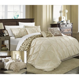 Chic Home Trefort Pinch Pleat Oversized Overfilled Reversible 7-piece Comforter Set